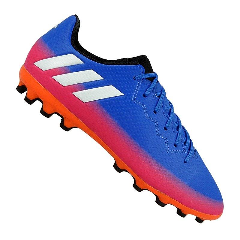 d4ddb5eeebaee adidas Messi 16.3 AG J Kids Blau Weiss Orange - blau
