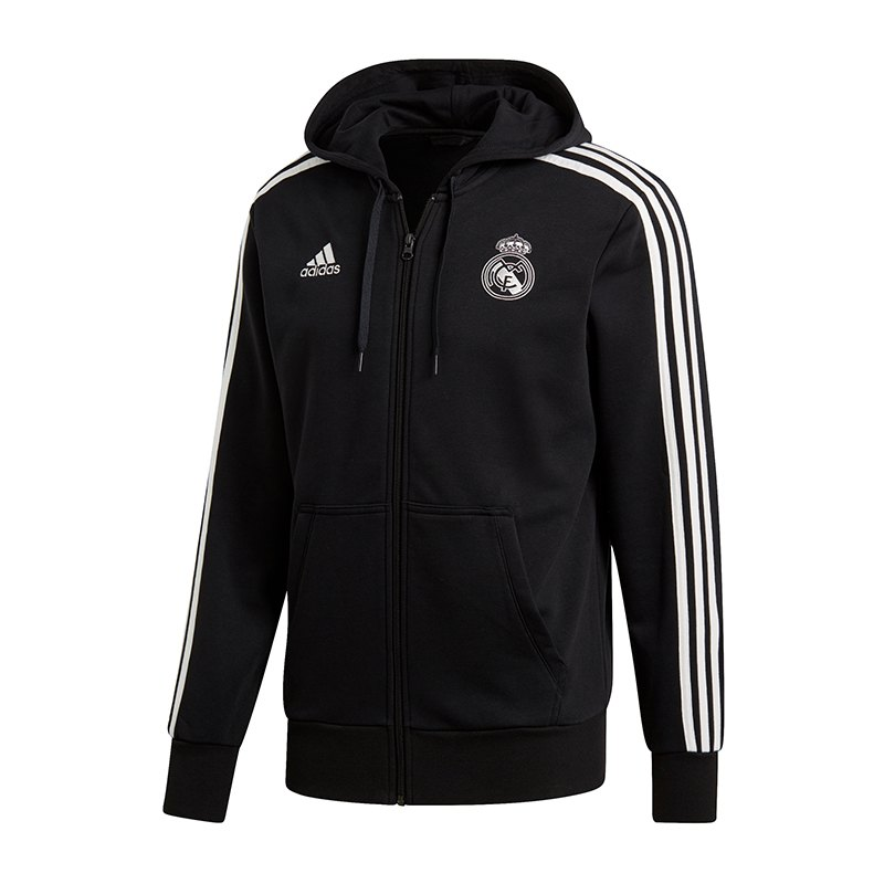 adidas Real Madrid 3 Stripes Kapuzenjacke Schwarz