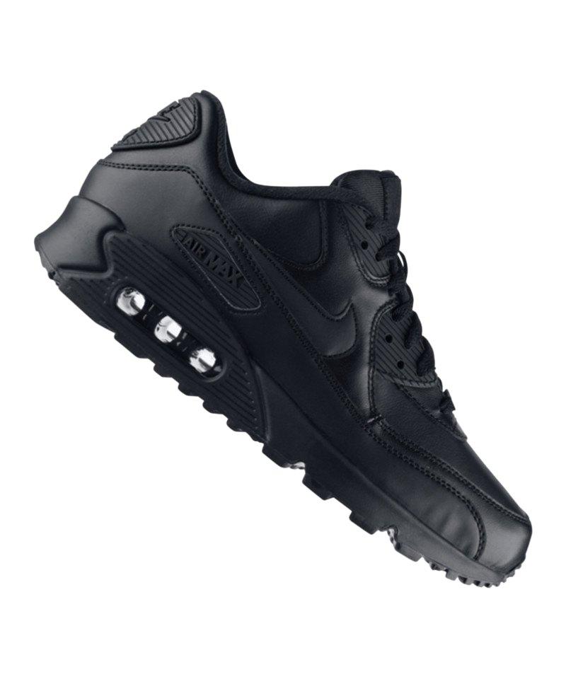 0fa30c0ff4e963 Nike Air Max 90 Leder Sneaker Schwarz F001 - schwarz