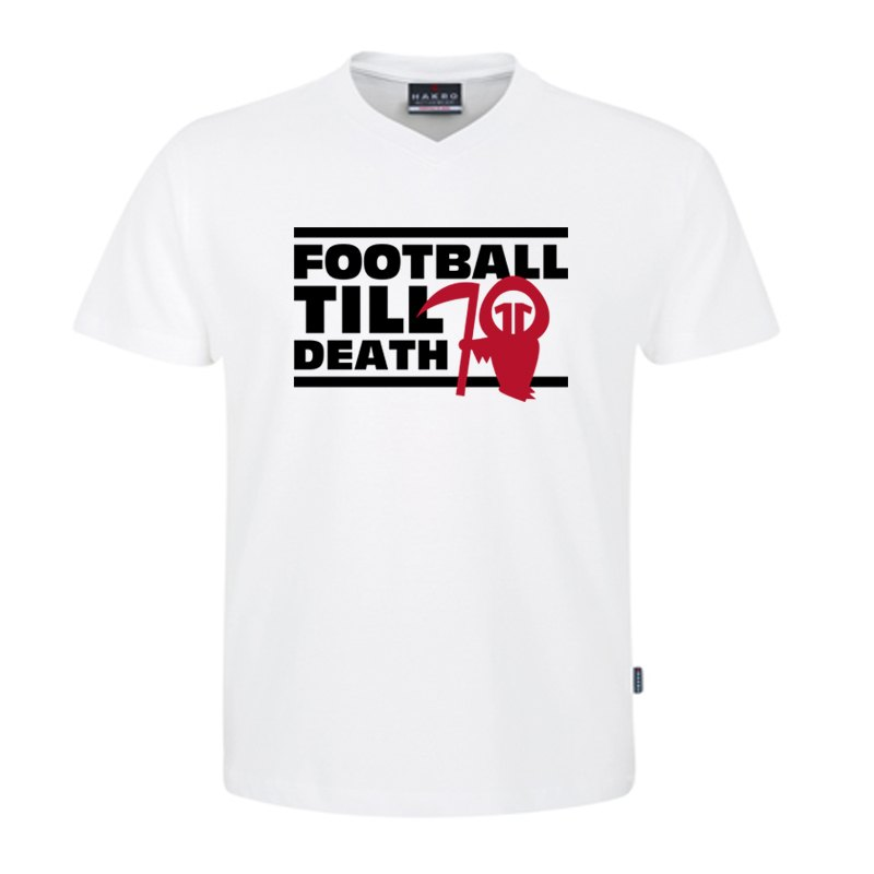 11teamsports V-Neck Shirt FOOTBALL TILL DEATH - weiss