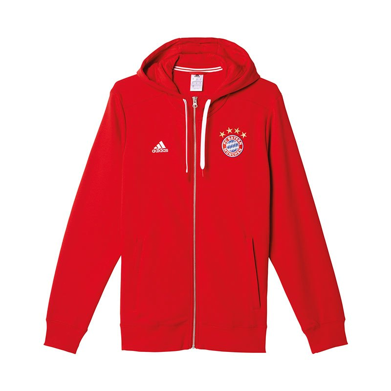 adidas fc bayern m nchen 3s hooded zip jacke rot. Black Bedroom Furniture Sets. Home Design Ideas