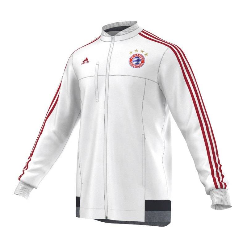 adidas fc bayern m nchen anthem jacket jacke weiss. Black Bedroom Furniture Sets. Home Design Ideas
