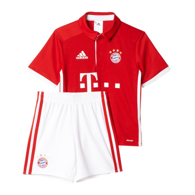 adidas fc bayern m nchen minikit home 2016 17 rot. Black Bedroom Furniture Sets. Home Design Ideas