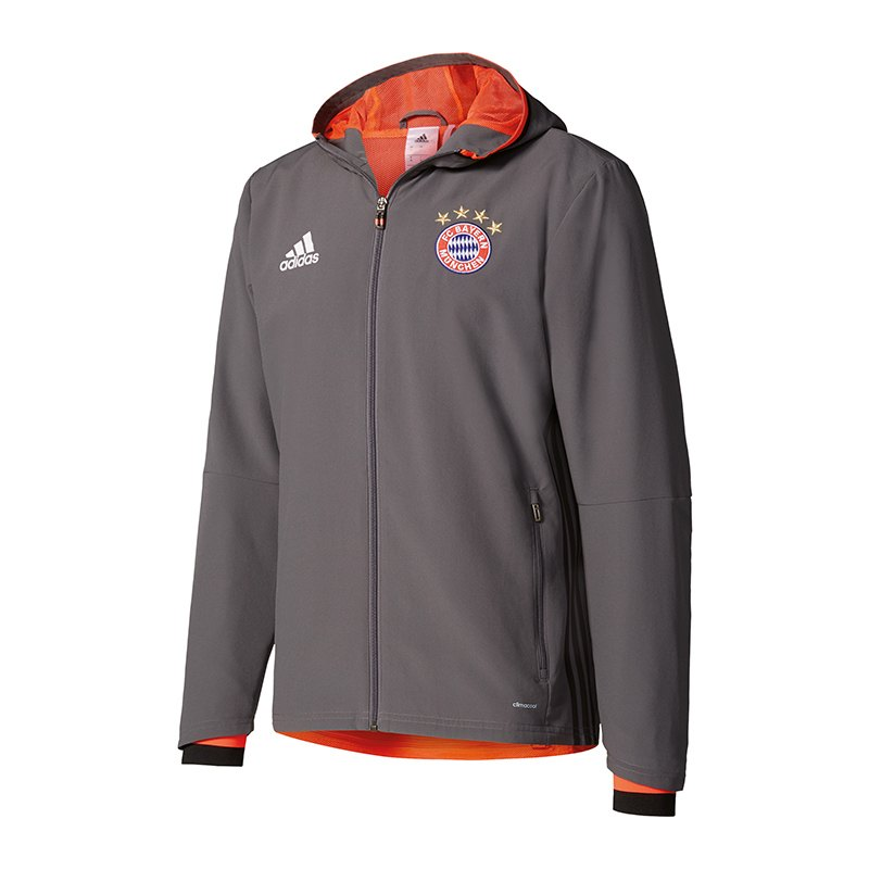 adidas fc bayern m nchen pr sentationsjacke grau replica. Black Bedroom Furniture Sets. Home Design Ideas