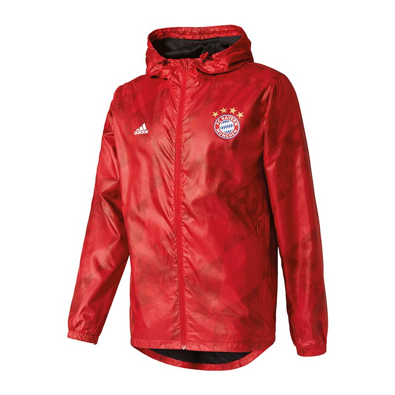 adidas fc bayern m nchen windbreaker jacke rot replica. Black Bedroom Furniture Sets. Home Design Ideas