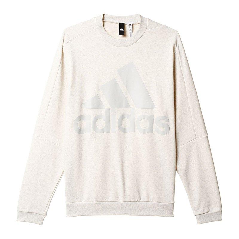 adidas id heavy terry crew sweatshirt weiss pullover. Black Bedroom Furniture Sets. Home Design Ideas