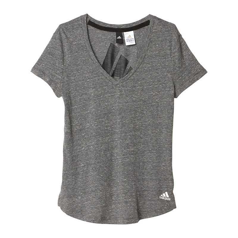 adidas logo v neck tee t shirt damen grau kurzarm. Black Bedroom Furniture Sets. Home Design Ideas