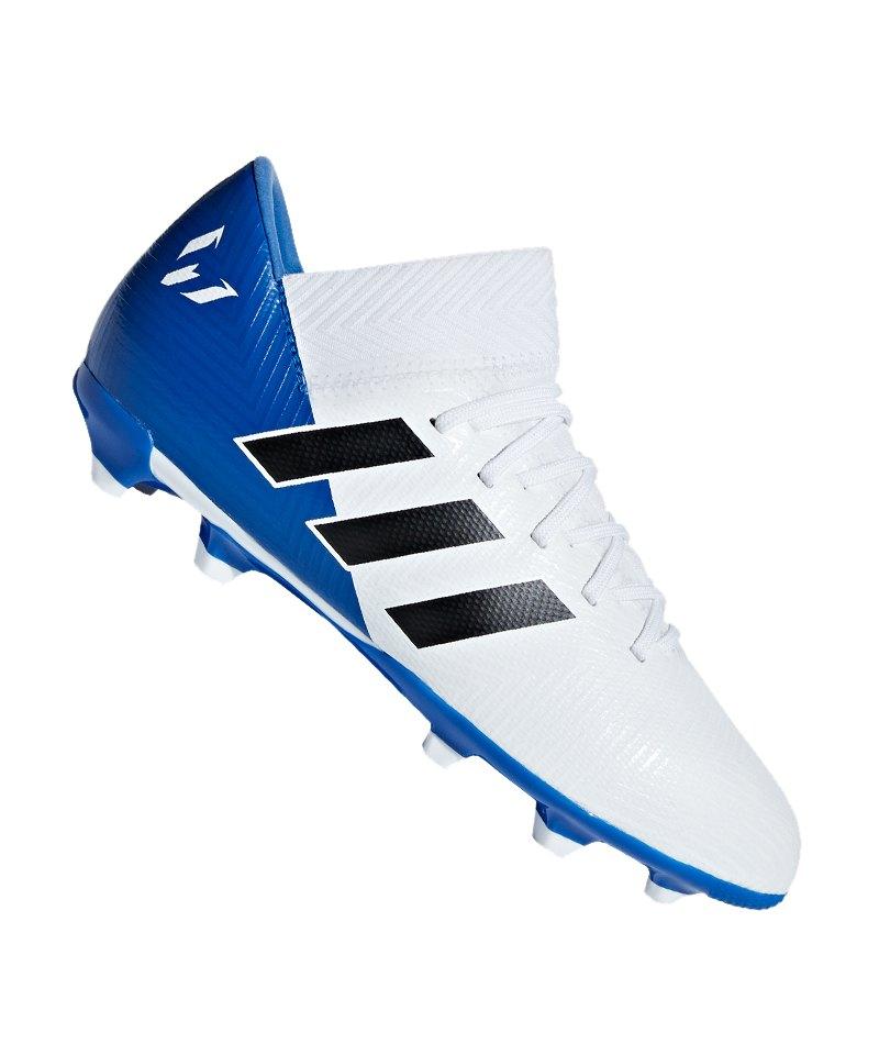 adidas NEMEZIZ Messi 18.3 FG J Kids Weiss Blau