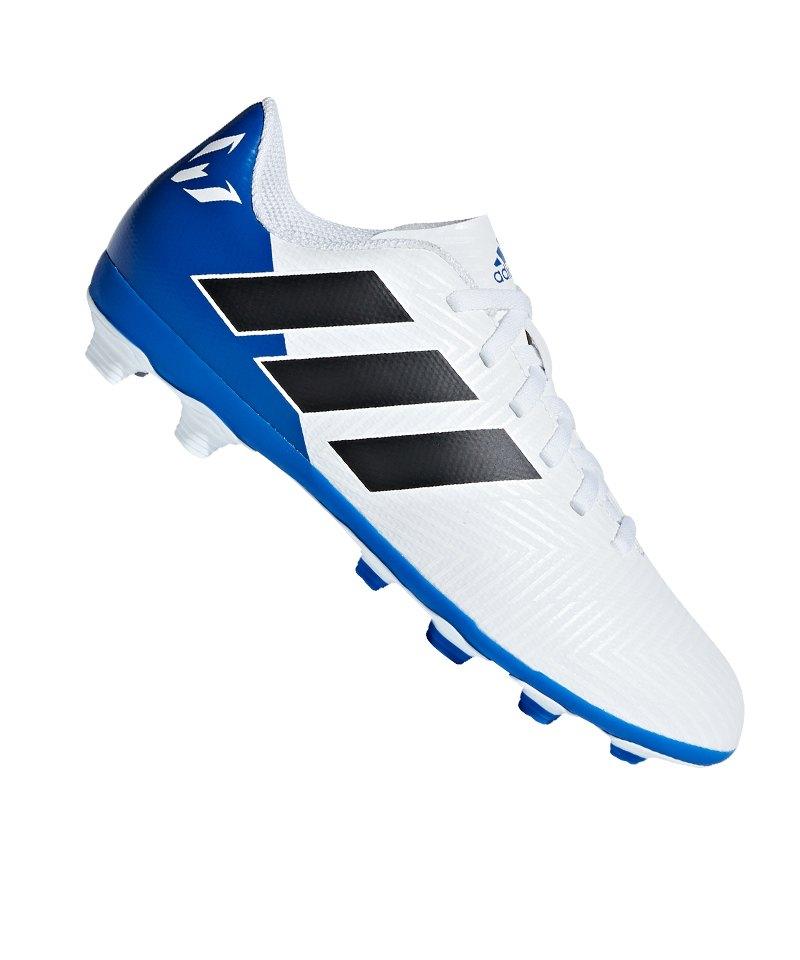on sale a5eb7 d8f21 adidas NEMEZIZ Messi 18.4 FxG J Kids Weiss Blau - weiss