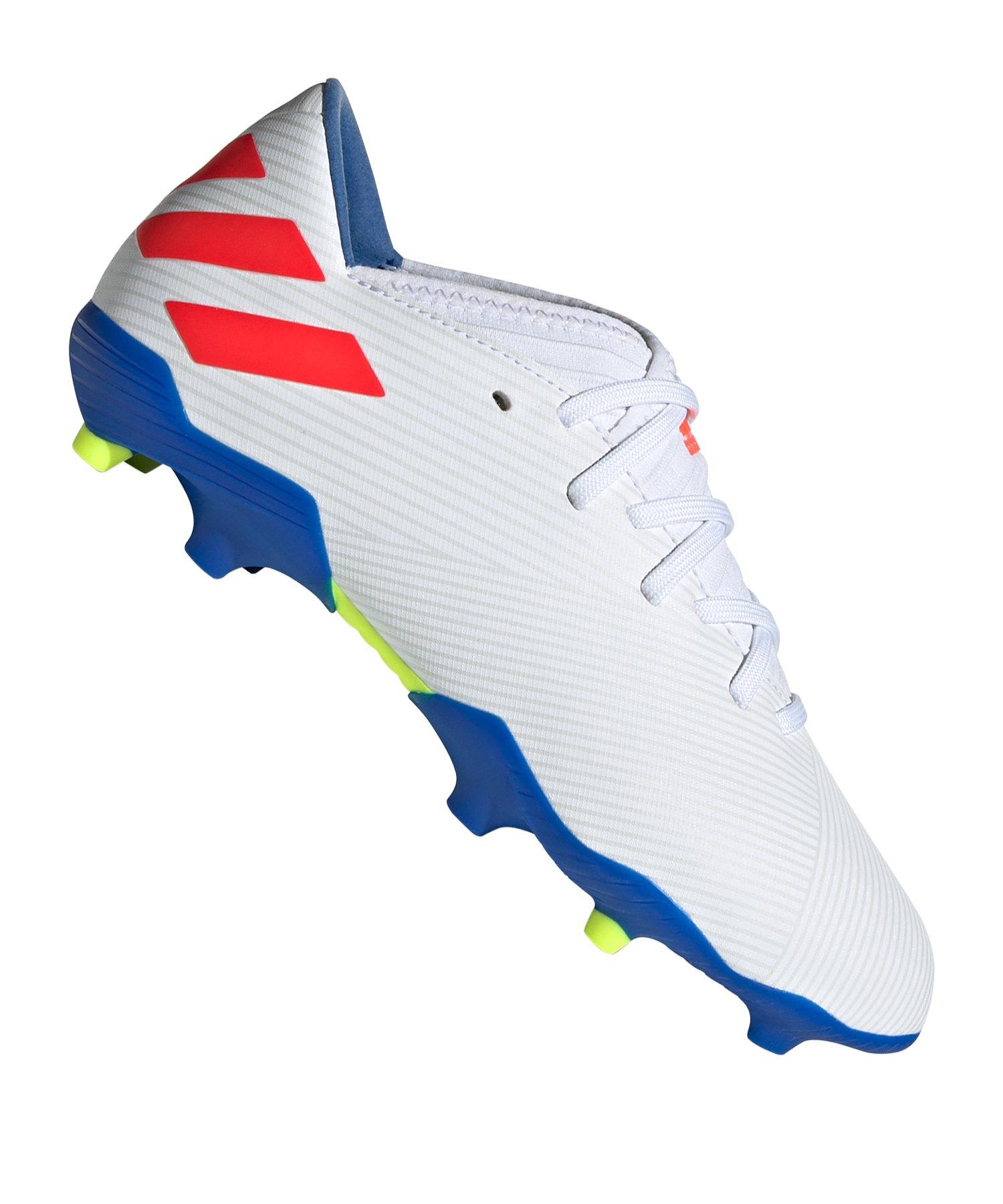 adidas NEMEZIZ Messi 19.3 FG J Kids Weiss Blau