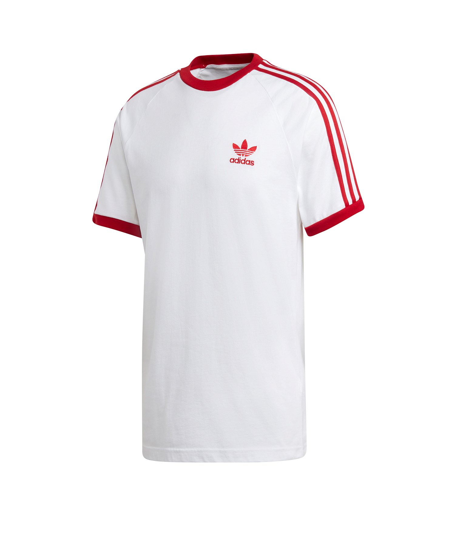 adidas originals 3 stripes t shirt weiss rot lifestyle. Black Bedroom Furniture Sets. Home Design Ideas