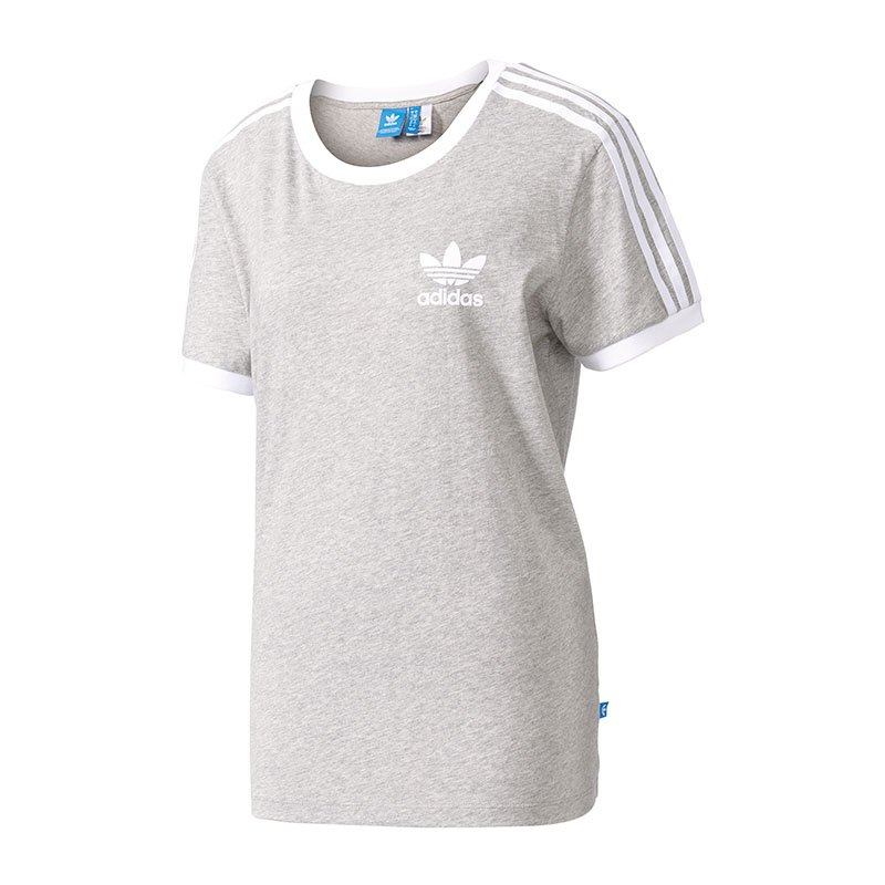 adidas originals 3 stripes tee t shirt damen grau shirt. Black Bedroom Furniture Sets. Home Design Ideas