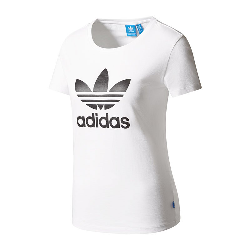 adidas originals trefoil tee t shirt damen weiss. Black Bedroom Furniture Sets. Home Design Ideas