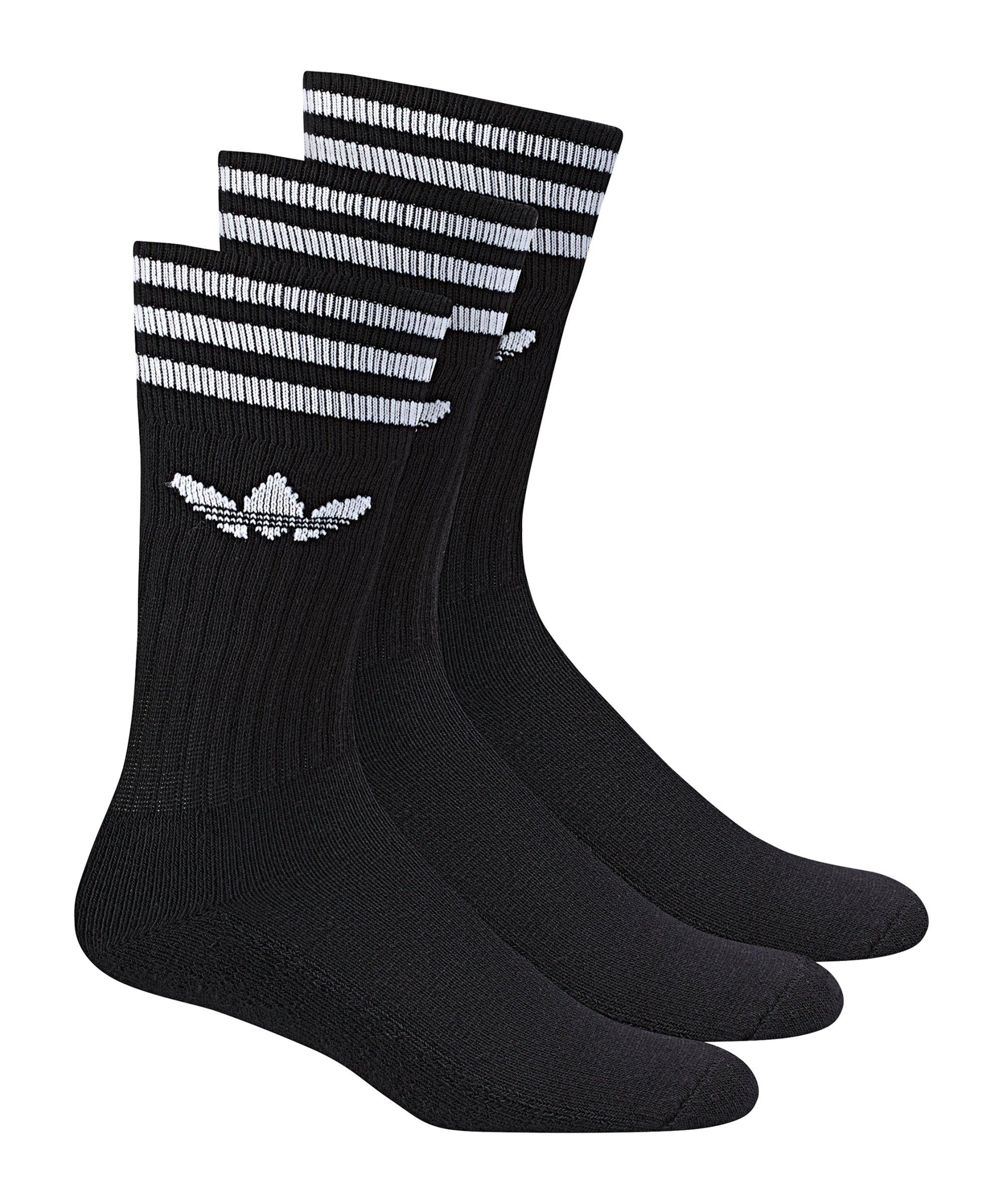 adidas Solid Crew Socken 3er Pack Schwarz Weiss