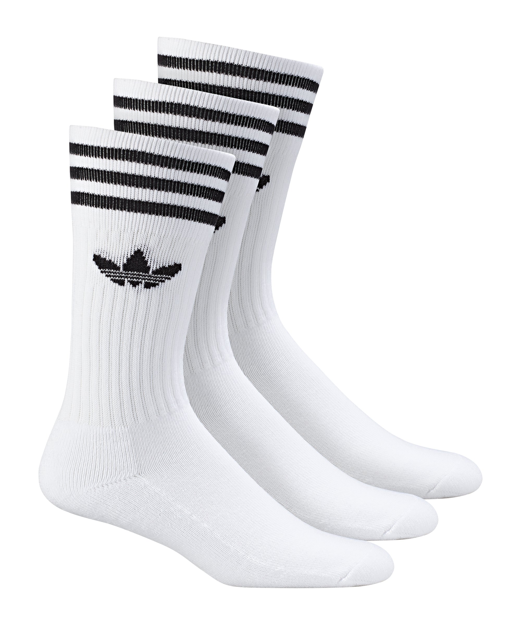 adidas Solid Crew Socken 3er Pack Weiss Schwarz