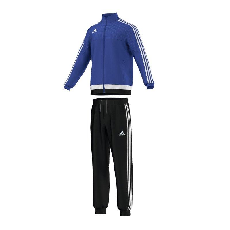 adidas tiro 15 polyesteranzug blau weiss trainingsanzug. Black Bedroom Furniture Sets. Home Design Ideas