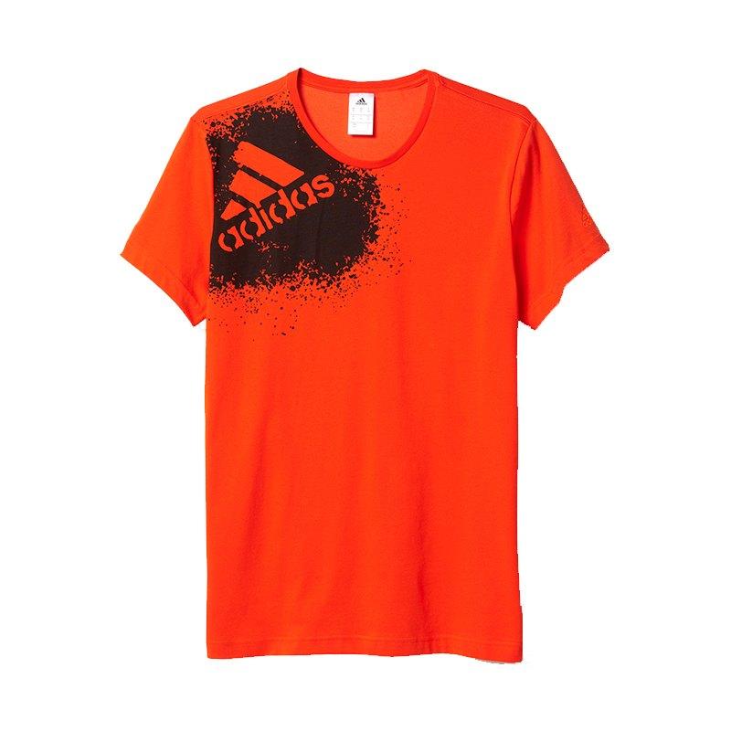 adidas x tee gra t shirt orange schwarz kurzarm. Black Bedroom Furniture Sets. Home Design Ideas