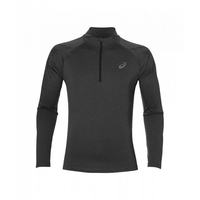 Asics Stripe 12 Zip T Shirt Running Grau F0722