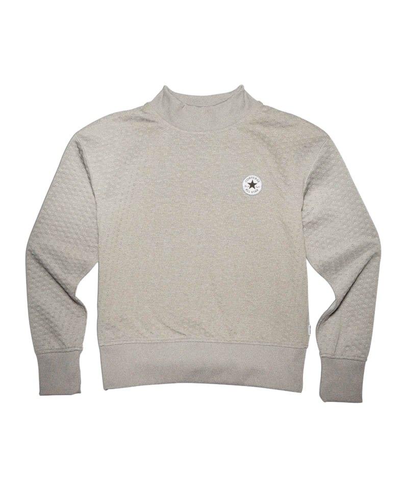 converse shield lycra mock sweatshirt damen grau damen. Black Bedroom Furniture Sets. Home Design Ideas