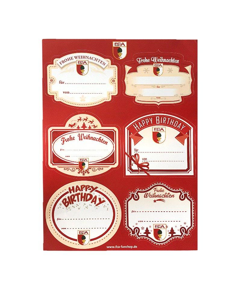 fc augsburg geschenk etiketten 6er set merry christmas weihnachten geburtstag schwaben. Black Bedroom Furniture Sets. Home Design Ideas