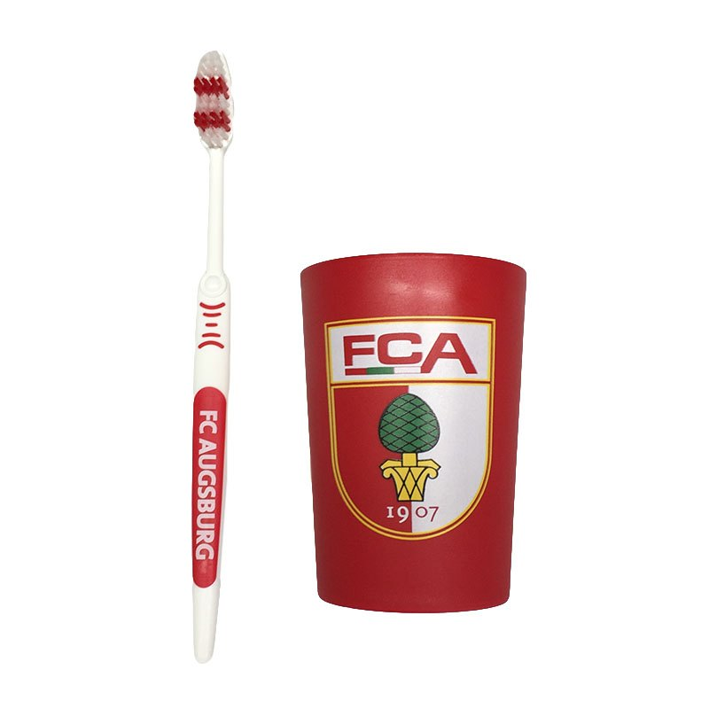 FC Augsburg Hygiene-Set Zahnbürste und Becher Rot - rot