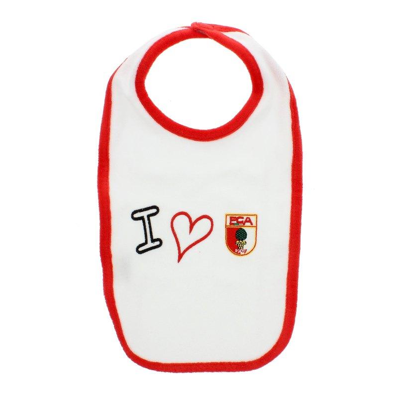 FC Augsburg Lätzchen I love FCA Weiss Rot - weiss