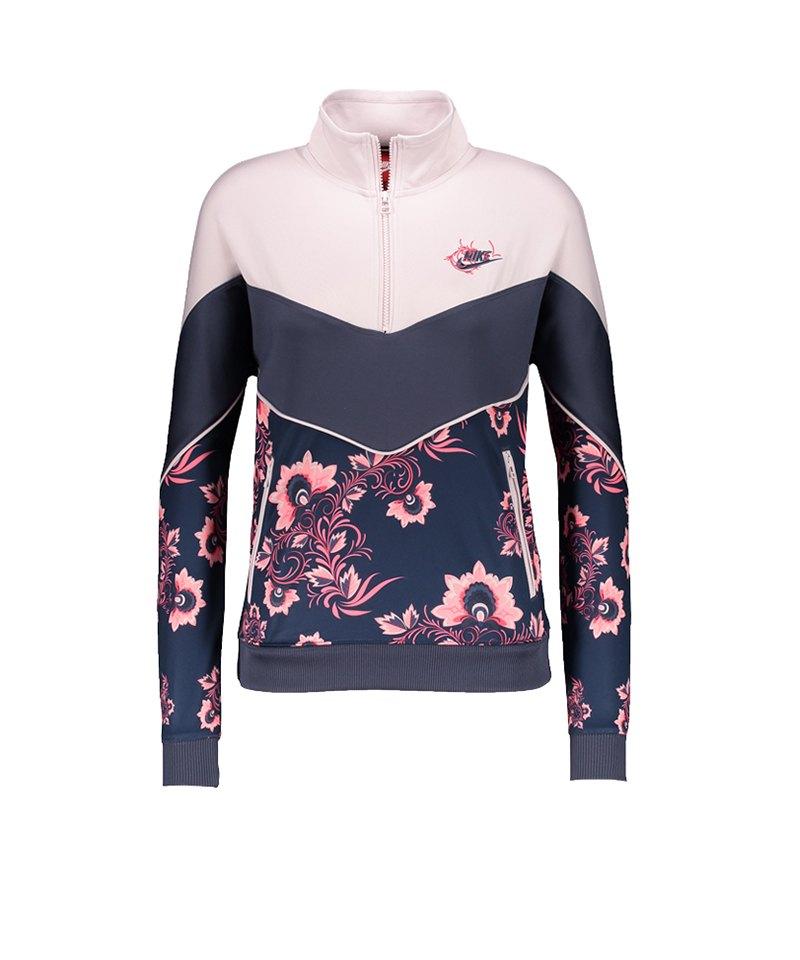 newest df9df b70a7 Nike 1/2 Zip Sweatshirt Damen Rosa Blau F477