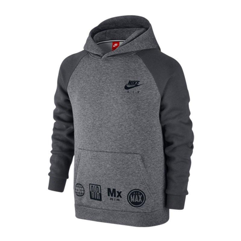 nike air hoodie kapuzensweatshirt kids grau f091 lifestyle bekleidung kpauzenpullover. Black Bedroom Furniture Sets. Home Design Ideas