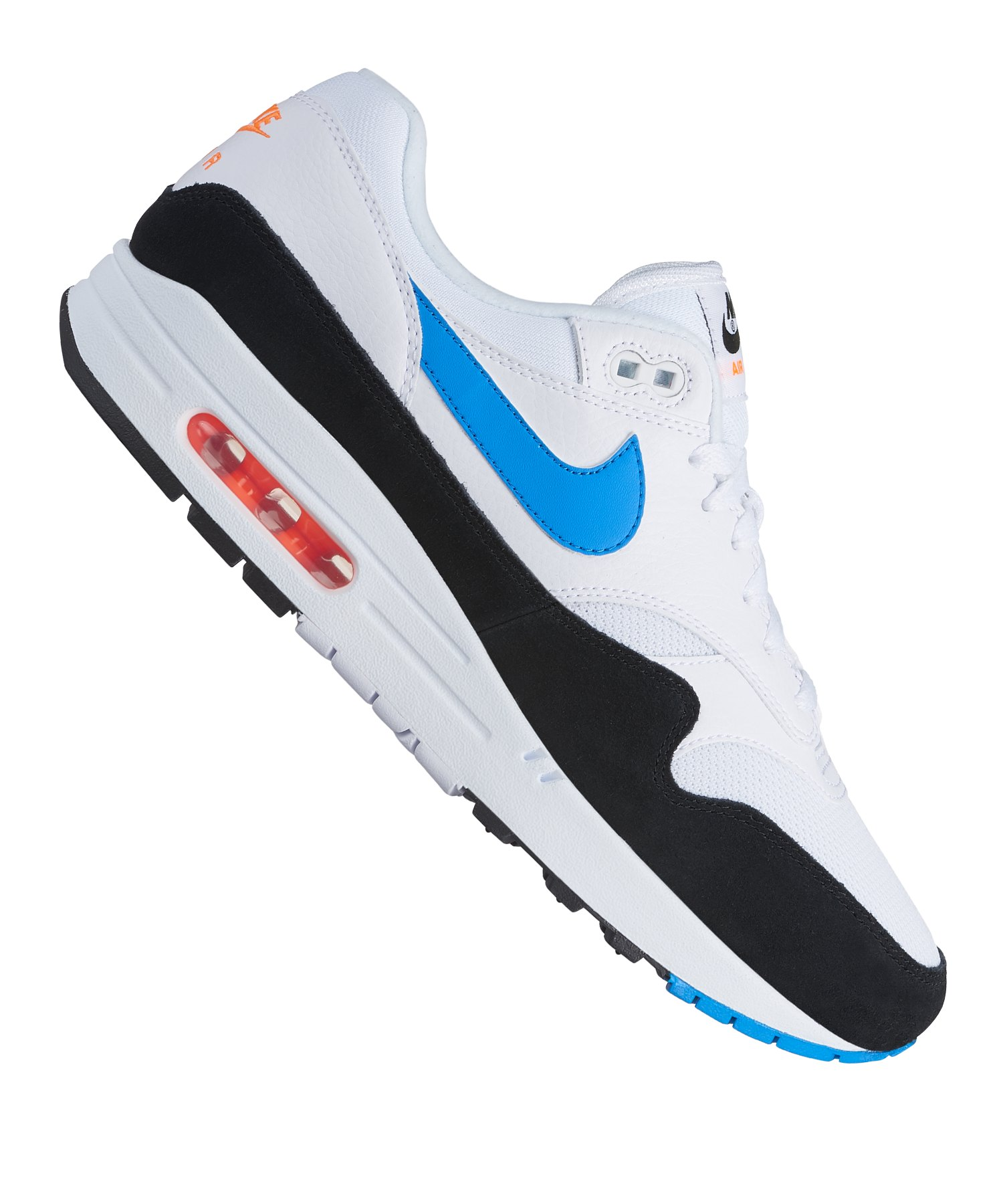 finest selection aedac 63411 Nike Air Max 1 Sneaker Weiss Schwarz Blau F112 - Weiss