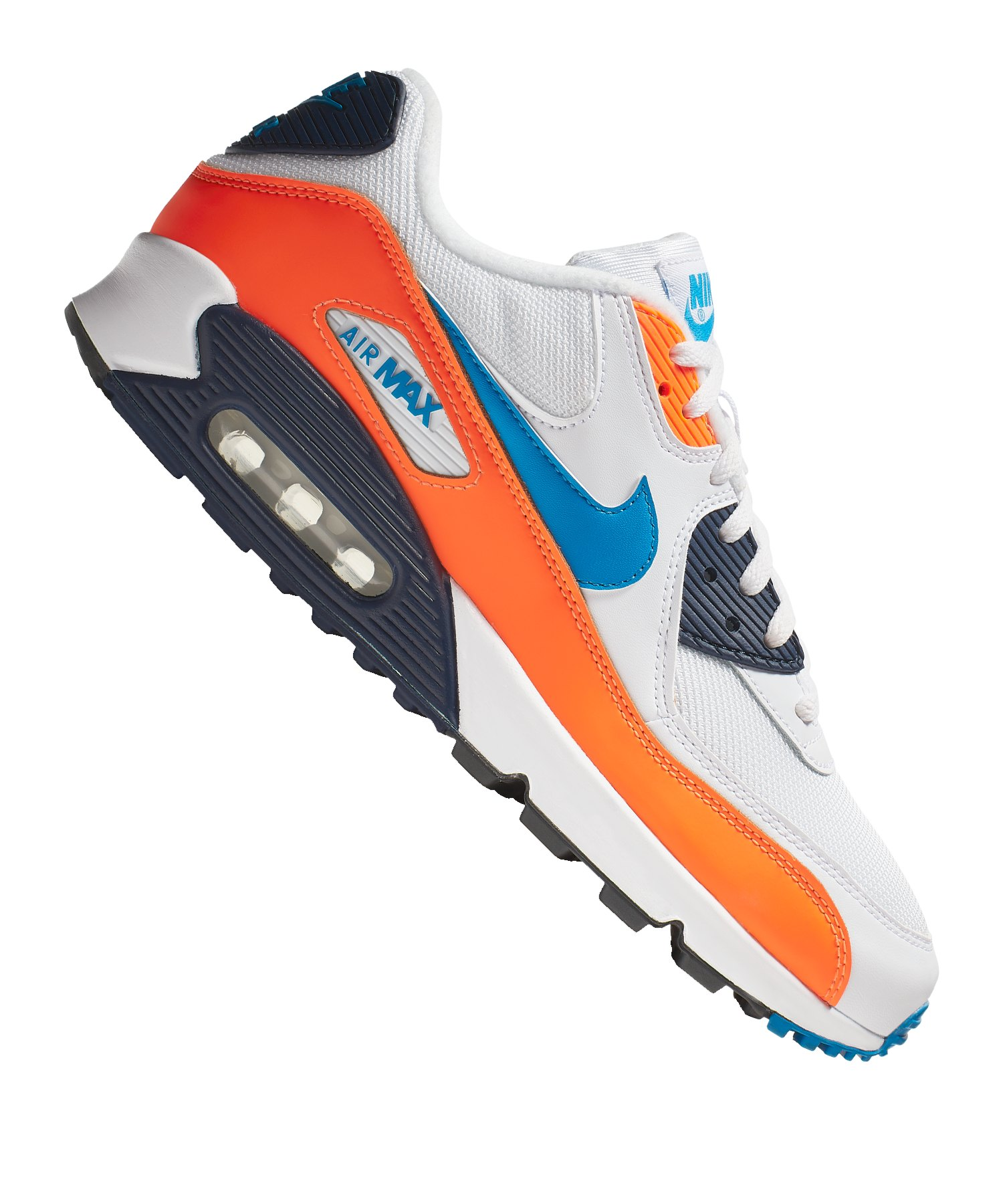 official photos 45e2d 217f3 Nike Air Max 90 Essential Sneaker Weiss Blau F104 - Weiss