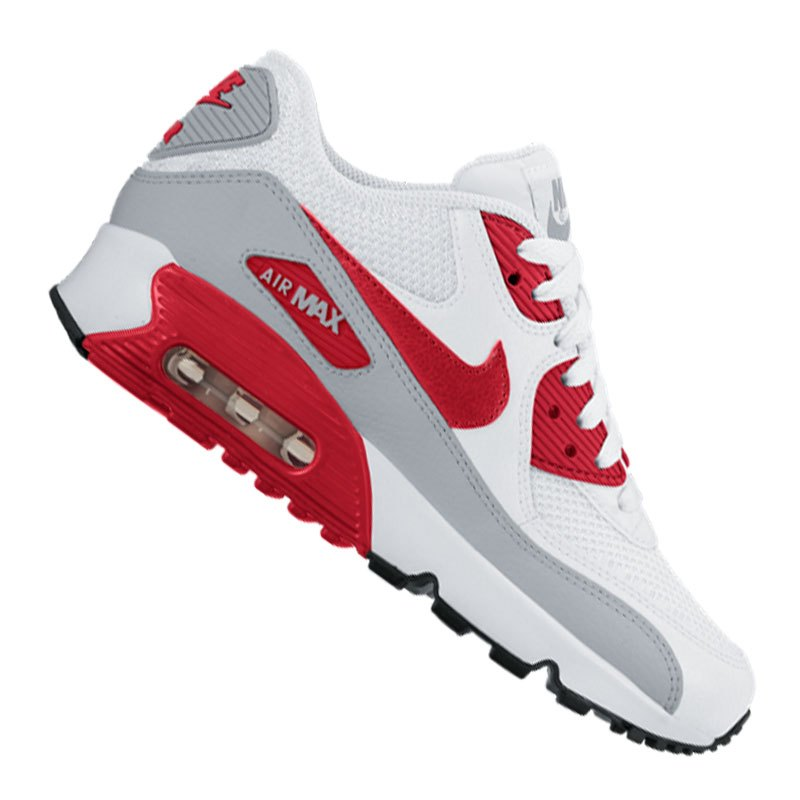 nike air max 90 mesh sneaker kids weiss rot f106 schuh. Black Bedroom Furniture Sets. Home Design Ideas