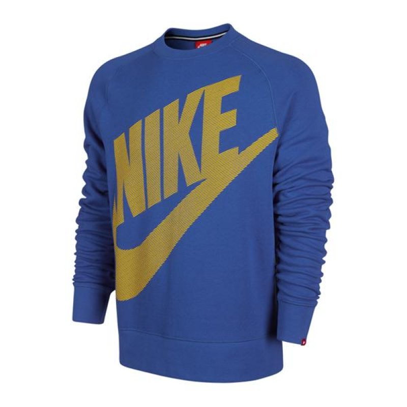 nike aw77 ft crew logo sweatshirt pullover langarm blau. Black Bedroom Furniture Sets. Home Design Ideas
