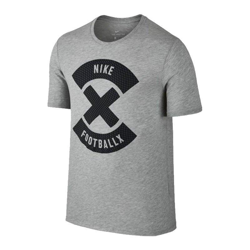nike dry football x logo tee tshirt grau f063 kurzarm