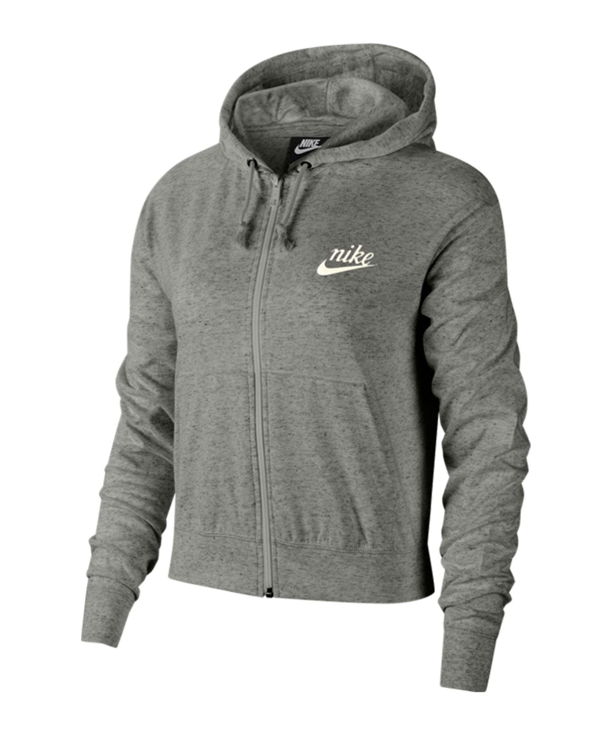 nike sportswear gym vintage damen-hoodie mit durchgehendem reißverschluss -  grau - sport-1a