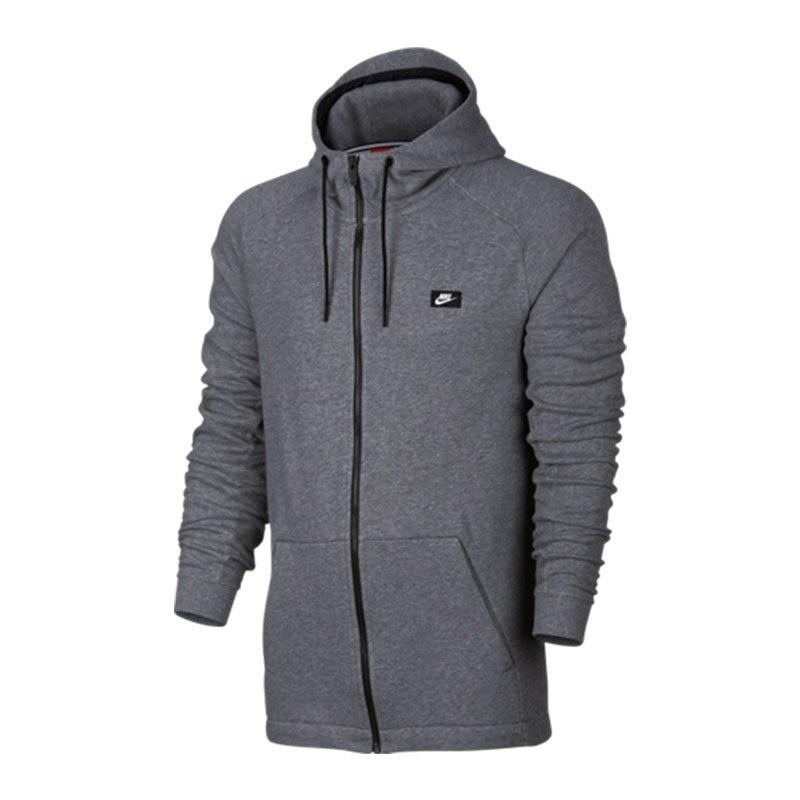 nike modern fullzip hoodie kapuzenjacke grau f091 lifestyle bekleidung textilien sweatshirt. Black Bedroom Furniture Sets. Home Design Ideas