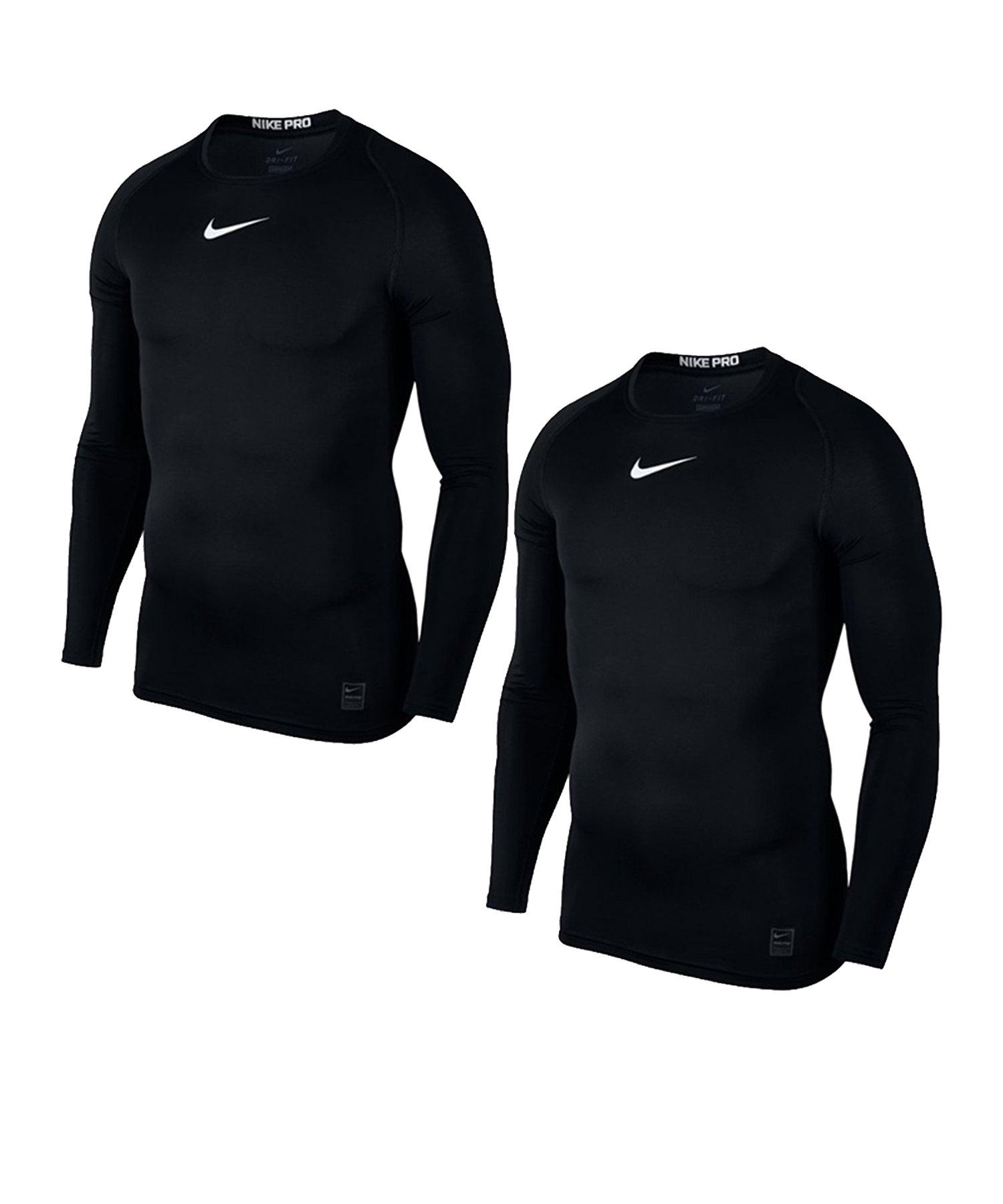 Nike Pro Compression LS Shirt 2er Set Schwarz F010 - schwarz