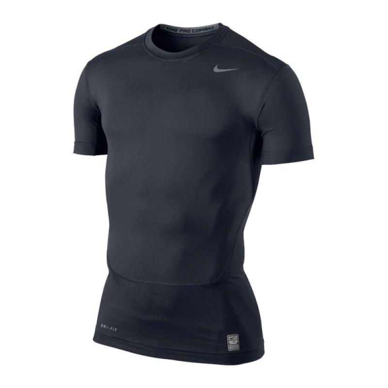Nike Herren Pro Compression Kurzarm Shirt  SObsidian/White