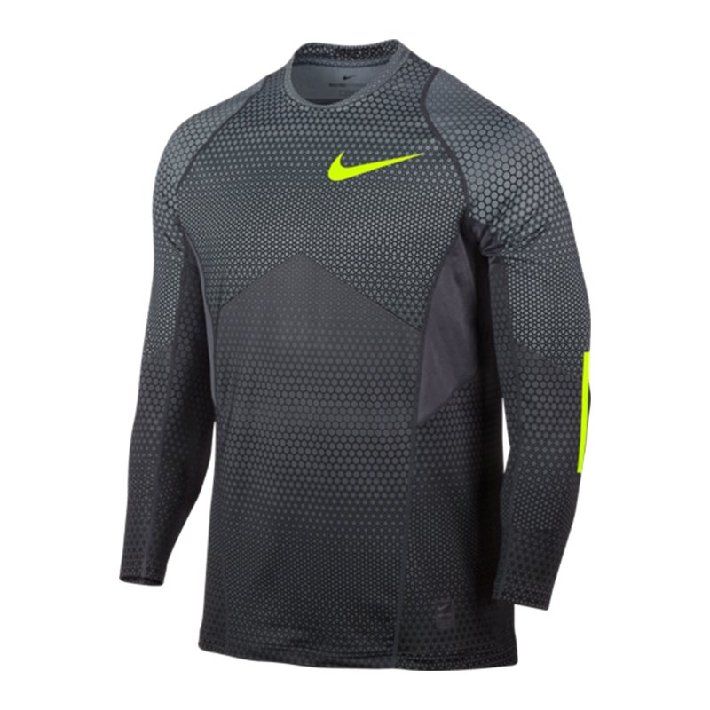 Nike Pro Hyperwarm Top Hexodrome Langarmshirt F065 - grau