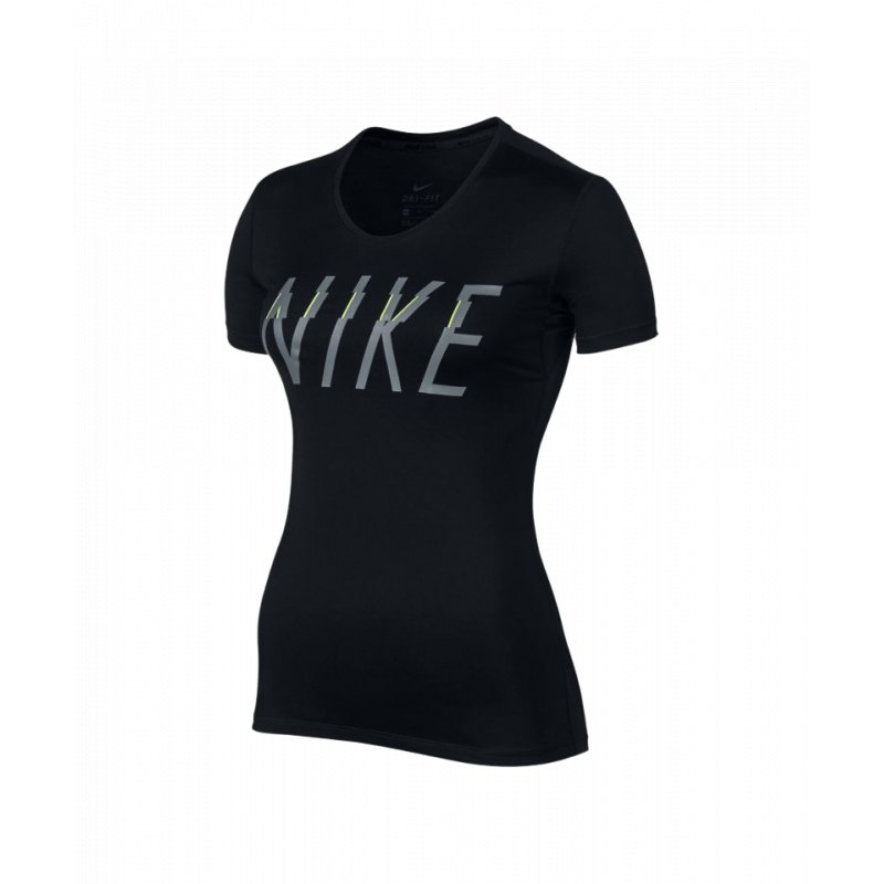 a8c347ca901287 Nike Pro Top T-Shirt Damen Schwarz F010 - schwarz