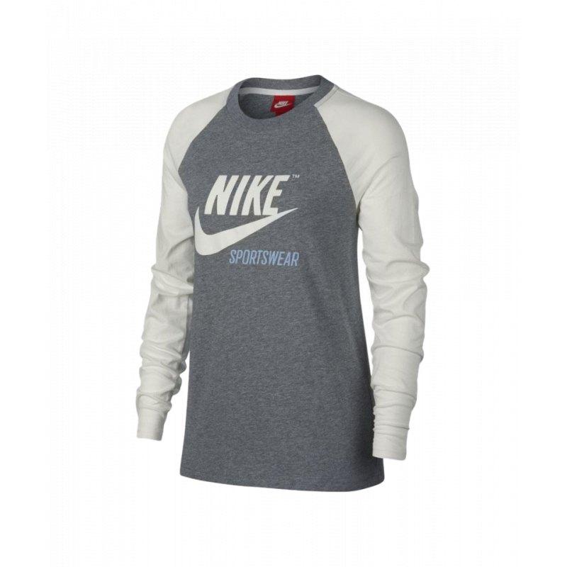 pretty nice 71149 5182c Nike Tee Sweatshirt Damen Grau Weiss F091