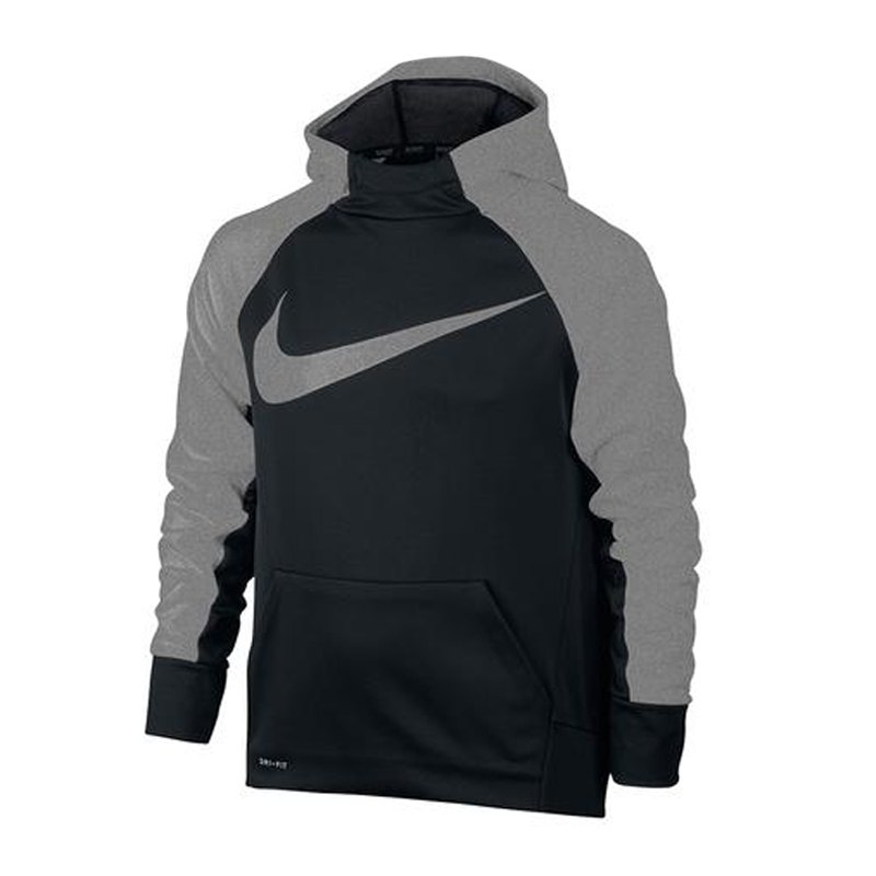 nike therma training hoody kids schwarz grau f011. Black Bedroom Furniture Sets. Home Design Ideas