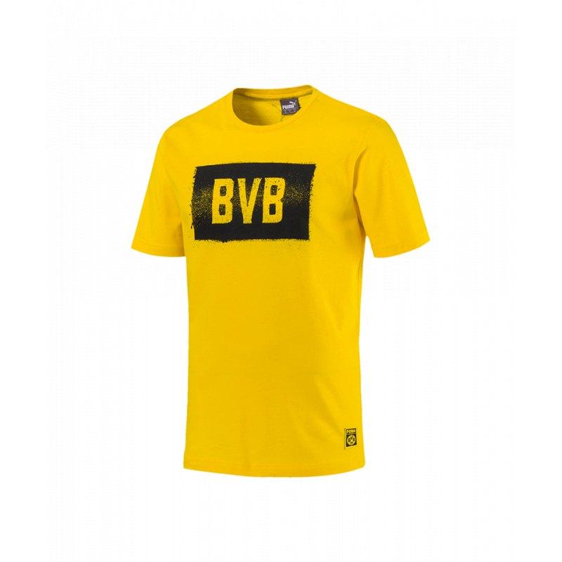 PUMA BVB Dortmund Stencil Tee T Shirt Gelb F01