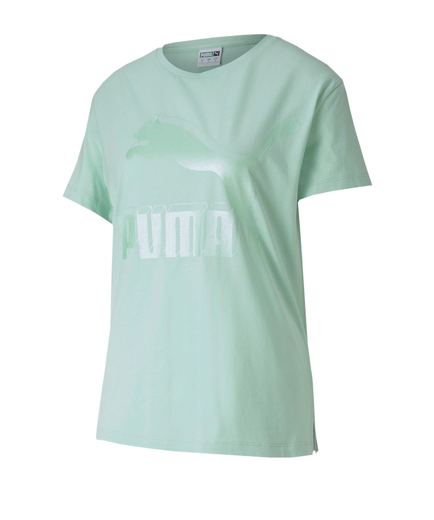 Puma Classic Logo T Shirt Damen Grun F94 Lifestyle Freizeit