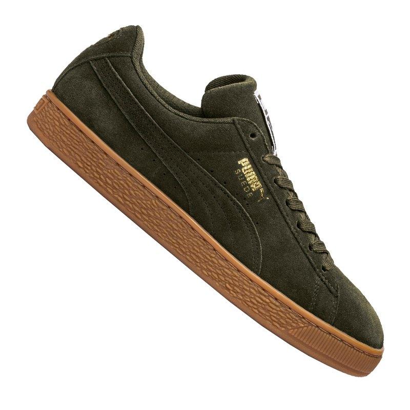 73fd270ee54fbe PUMA Suede Classic Sneaker Dunkelgrün Gold F46 - gruen