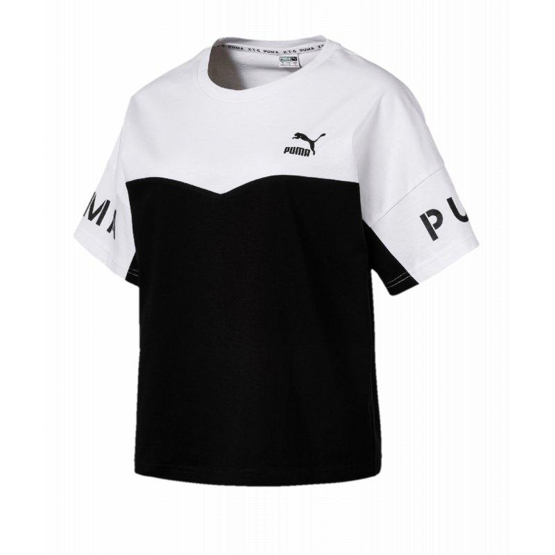 PUMA XTG Colorblock Tee T Shirt Damen Schwarz F02