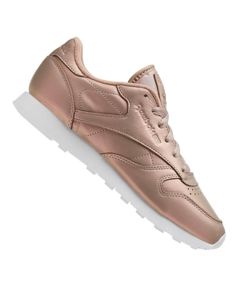 Reebok Classic Leather Pearlized Damen Rosa Weiss Sneaker Schuh